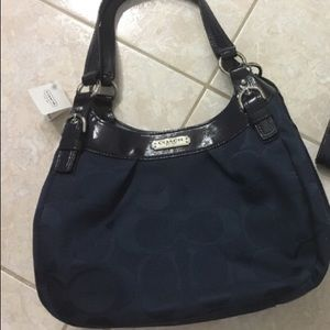 Coach navy blue hobo bag